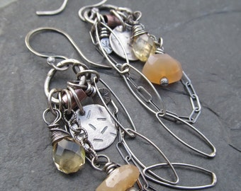 BOHO Charm Earrings YELLOW Long Dangling Silver and Gemstone wire wrapped Charm Cluster Earrings Peach
