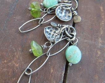 BOHO Silver studs Dangling Earrings Charm Post Stud earrings Aqua Green wire wrapped Gemstone earrings Cluster Earrings