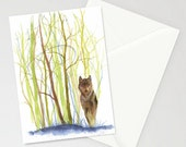 Greeting Card - SOLITAIRE - Wolf, Wilderness, Lonely, Alpha, Dangerous, Cold, Hunting, Watercolor Art Painting