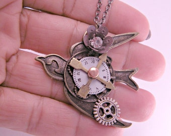 Steampunk Industrial Brass Sparrow Necklace Pendant on 18 inch Chain