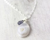 RESERVED - Solar Quartz and Iolite Silver Necklace