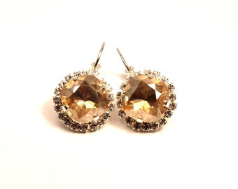 Golden Shadow Crystal Dangle Earrings Classic Sparkling Pale Pastel Yellow Gold Solitaire Swarovski 12mm Studded Rhinestone Crown Sparkle