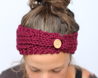 Knit Headband with Wooden Button in Red Wine