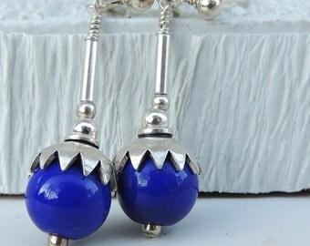 LAPIS Handmade Lampwork Bead Dangle Earrings