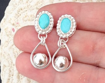 Turquoise Earrings, Artisan Metalsmith Rain Drops, Sterling Silver Hoop, Handcrafted Silversmith Stone Earrings, Bohemian Boho Chic Dangles