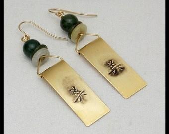 ASIAN SCROLLS - Handforged Embossed Bronze and Jade Long Linear Earrings