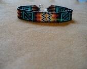 Native American Style loom stitched Anasazi style design bracelet