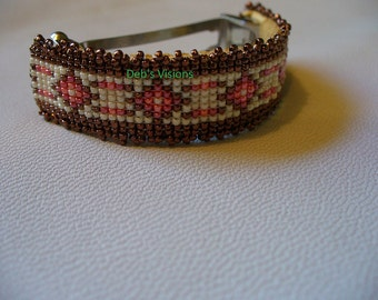 Native American Style loom beaded Pony Tail barrette in off white and Bronze