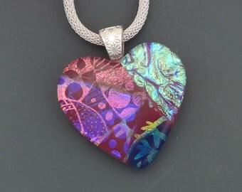Dichroic Heart Pendant, Fused Glass Heart, Valentine Heart Pendant, Pink Glass Heart Pendant, Pink Patchwork Heart