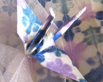 Shibori Blue Peace Crane Bird Wedding Cake Topper Party Favor Origami Christmas Ornament Paper Place Card Holder Tie Dye Decor Mauve Green