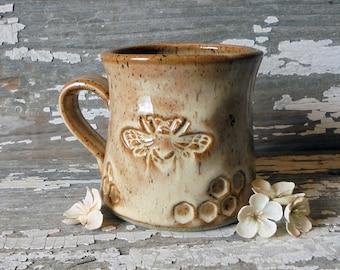 Bee Mug - Handmade Pottery Bee Mug - Caramel Bee Mug - Honeycomb - Tea Cup - Stoneware Mug - Coffee Cup