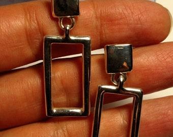 Long Vintage 1980s Signed Anne Klein Designer Silver Tone Pierced Geometric Door Knocker Earrings