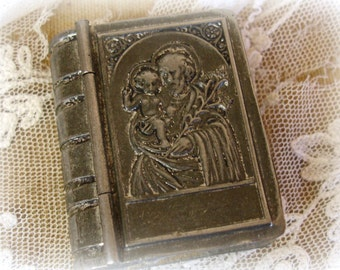 vintage metal rosary box in the shape of a bible tiny book shaped metal box travel rosary box marked CHECHOSLOV incredible detail