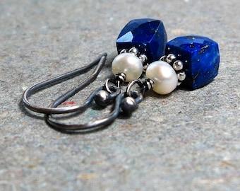 Lapis Earrings Lapis Lazuli Petite Earrings Minimalist Earrings Geometric Jewelry White Pearl Earrings Oxidized Sterling Silver Earrings