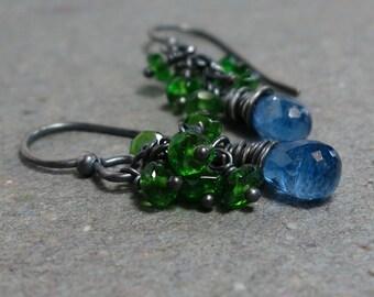 Kyanite Earrings Chrome Diopside Cluster Oxidized Sterling Silver Blue, Green Earrings Gift for Her