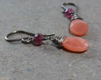 Peach Moonstone Earrings Pink Tourmaline Earrings Dangle Earrings Oxidized Sterling Silver Earrings Gift for Her