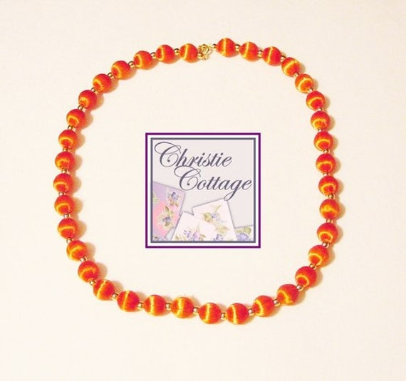 Vintage Necklace - Restrung - Orange and Gold Beads