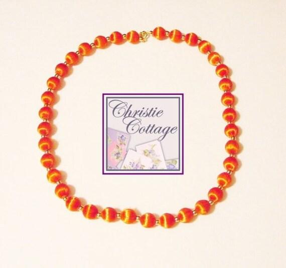Vintage Necklace - Restrung - Orange and Gold Beads