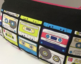 Cassettes Rounded Corner Zipper Pouch