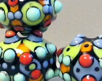 Zuma Mini Trio --Handmade Lampwork Beads