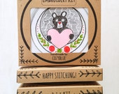 BEARY SWEET embroidery kit - valentines day gift kit, black bear with heart, DIY valentines gift, gift for her, gift for girlfriends