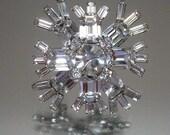 Warner Rhinestone Crystal Snowflake Pin Brooch Vintage