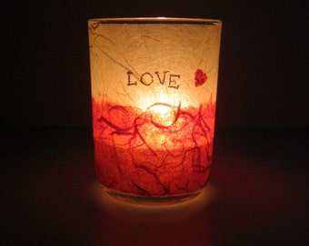 Illuminated Earth Light - LOVE - candle, candle holder, glass, handmade paper, beige and red, word, text, home décor, modern, eco, ooak