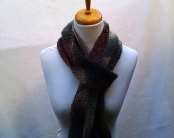 Wool Scarf, skinny long scarf, diagonal knit