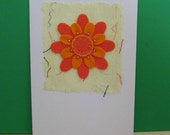 Felt Daisy Flower Card - Unique Textile Card - Colourful Retro Fun - Blank - Suitable For Any Occasion