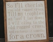 The Old Rugged Cross | Easter/Church Hymn Lyrics | Easter Resurrection Sunday Decor | 13x13 inch painted wood sign | Gallery Wall | Hymn
