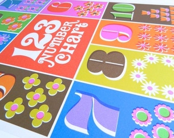 SPECIAL OFFER Retro Flower 1-10 Counting Number Chart Poster - A3