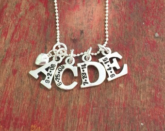 Personalized sterling silver letter charms-stamped letters with dates-personalized custom necklace