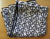 Vintage Ivory Ebony Buckle Design Large Square Silk Twill Scarf EUC