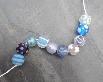 Summer Sky Softies - SRA handmade glass lampwork beads - Lori&Kim