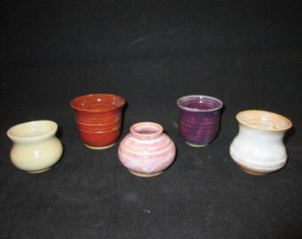 SALE  set of mini vessels in assorted glazes, stoneware pottery, dishwasher and food safe