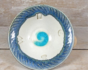 Directions Ritual Bowl in Winter White and Blue, Aqua Glass, Calling Corners Dish, Pagan Ritual Ware, Magic Majick, Wiccan, Ready to Ship