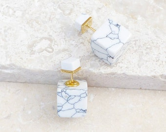 Howlite Gemstone Reversible Cube Earrings