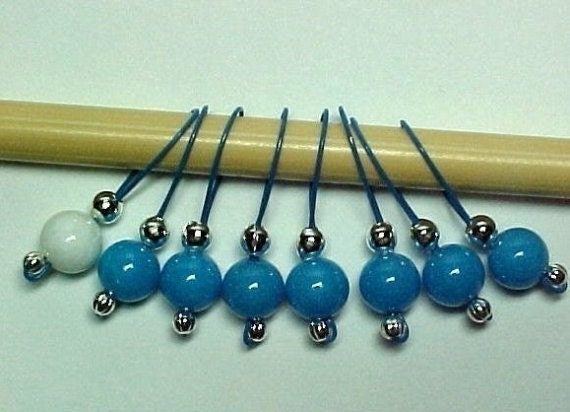 7 Plus 1 Mountain Jade Beads Stitch Markers - US 10 - Item No.  444
