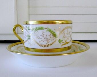 Richard Ginori Coffee Cup and Saucer, La Scala Pattern.