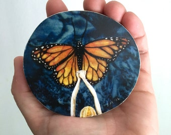 Monarch butterfly art, on borrowed wings, gift for her, one of a kind, Mounted Print, round wood slice