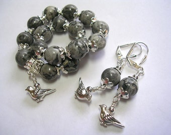 Gray Scenery Jasper Gemstone Earrings Stretchy Bracelet Set Silver Bird Charms Silver Accents Wire Wrapped Leverback Hooks Gifts under 10