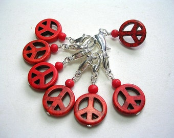 Crochet Stitch Markers Accessories Red Zipper Pulls Fan Pull Purse Clip Dangle Peace Sign Stitch Markers Pretty Red Howlite Stone Markers