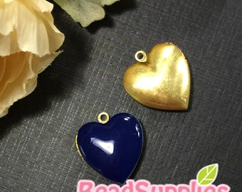 CH-EX-08055NB - Nickel Free, Heart-shaped locket,navy blue 2pcs