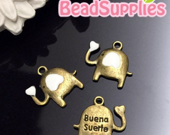 CH-ME-03198W - Antique brass, Cutie elephant charm with white heart, 6 pcs