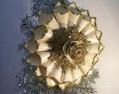 Ornament, Paper Cone, Christmas Tree Ornament, Bling, Vintage, Wedding, Anniversary, Housewarming, Handmade, Gold