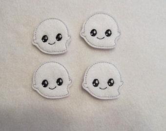 4 Felt Little GHOST Applique Embellishments Style GS