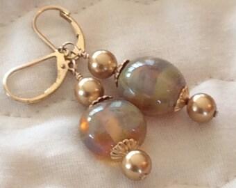 Lampwork Golden Glass Coin Gold Filled Earrings