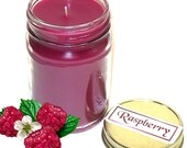 Raspberry Mason Jar Candle Fresh Fruit Berry Scent 12 Oz Handmade