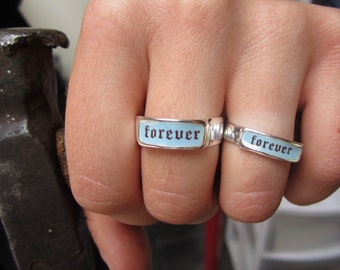 Forever Band Ring - Sterling Silver and Vitreous Enamel Forever Ring - Alternative Engagement Ring or Wedding Band - Anniversary Ring