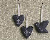 hand-embroidered christmas ornaments: choose your own set of 3